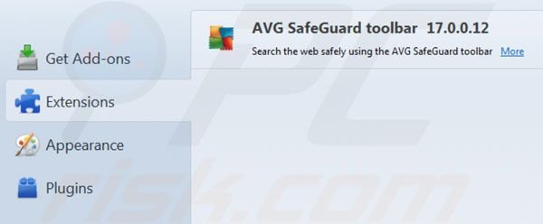 AVG Search removal from Mozilla Firefox extenions