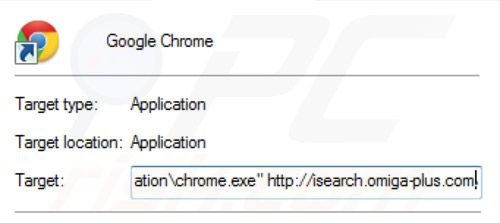 Removing inspsearch.com redirect virus from Google Chrome shortcut target step 2