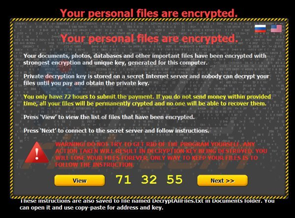 Virus (citroni) ransomware - Your personal files are encrypted