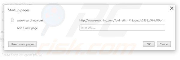 Removing www-searching.com from Google Chrome homepage