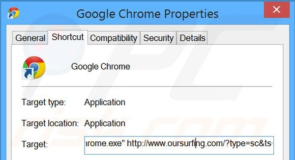 Removing oursurfing.com from Google Chrome shortcut target step 2