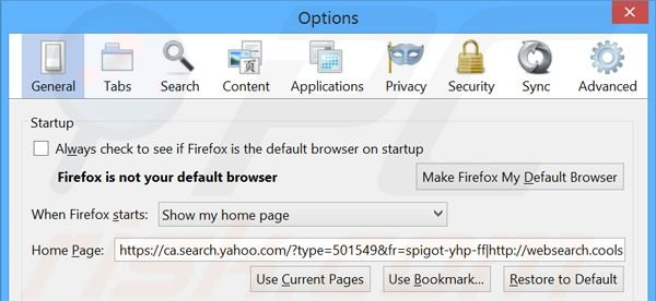 Removing search.yahoo.com from Mozilla Firefox homepage
