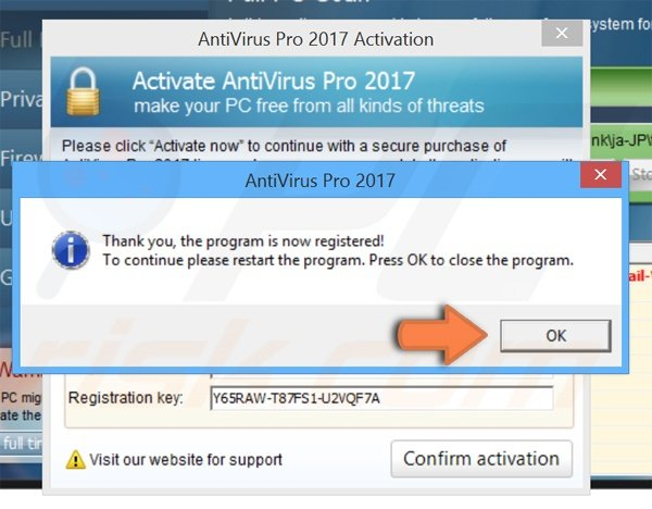 AntiVirus Pro 2017 registration process step 3